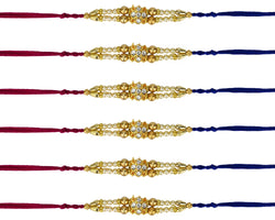 12 Premium Fancy Rakhi for Raksha Bandhan 2019 | Set of 12 Red and Blue Thread Rakhi with Special Gold, Pearl and Diamante Type Detail