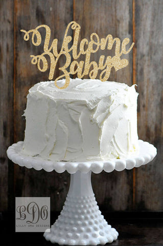Glitter Welcome Baby Shower Unisex Cake Topper Available In Gold
