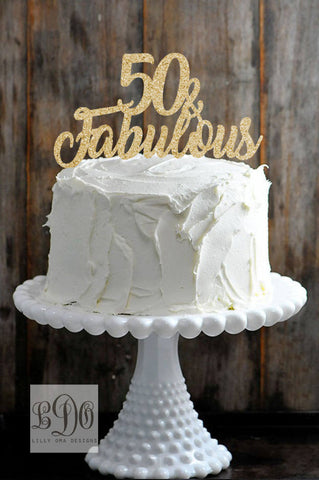 Glitter 50 and Fabulous Birthday Cake Topper Available in Gold