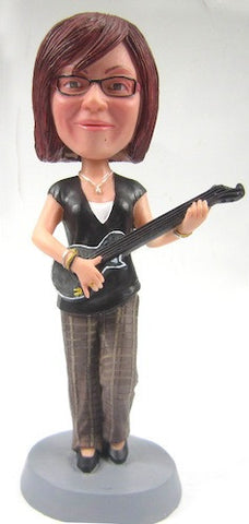 Female Guitar Player Bobblehead - National Bobblehead HOF Store