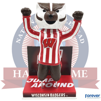 Wisconsin Badgers Bucky Badger Jump Around Bobblehead - National Bobblehead HOF Store