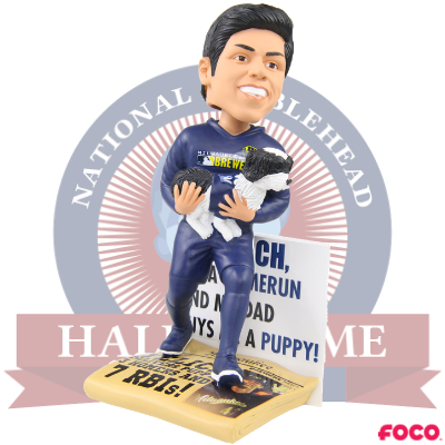 Christian Yelich and Yeli Milwaukee Brewers Puppy Dual Bobblehead (Presale)