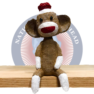Sock Monkey Mantle Mates Sitting Bobblehead