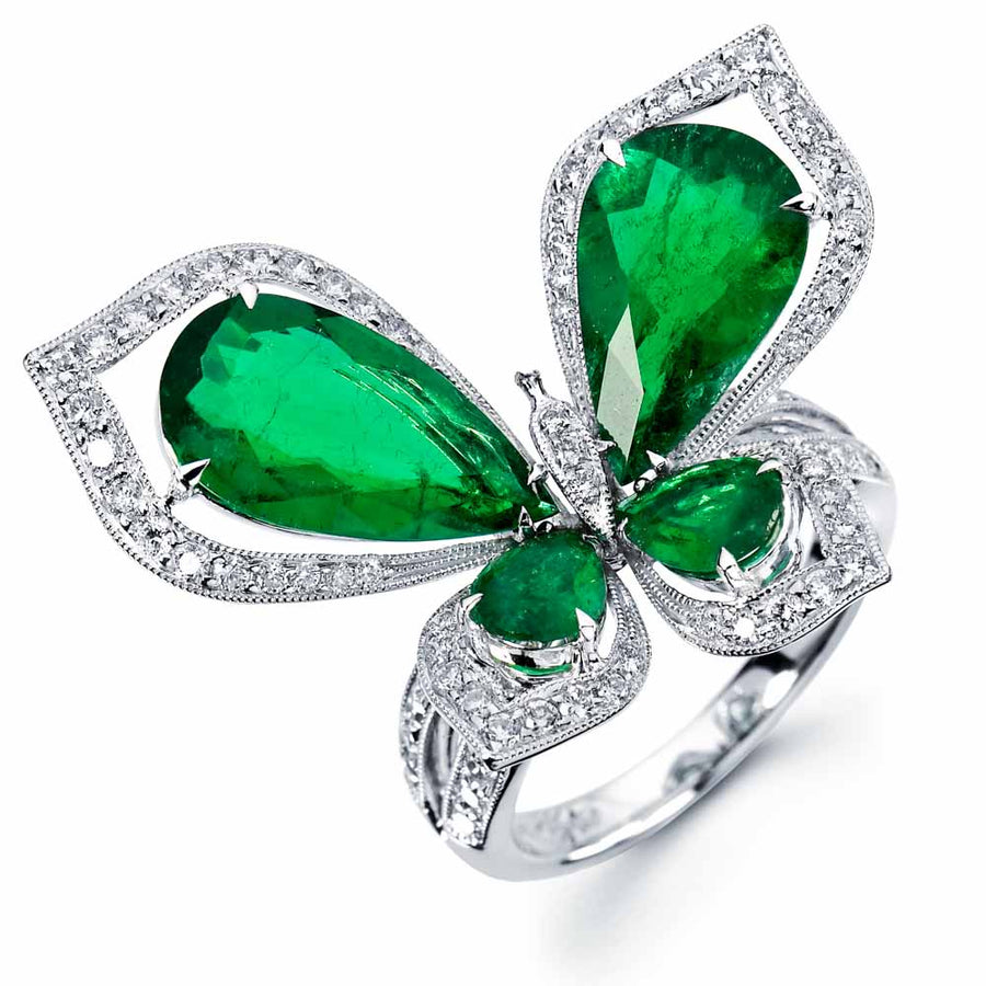 Papillon Emerald Ring
