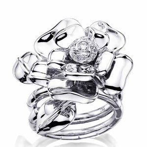 White Gold Open Flower Ring