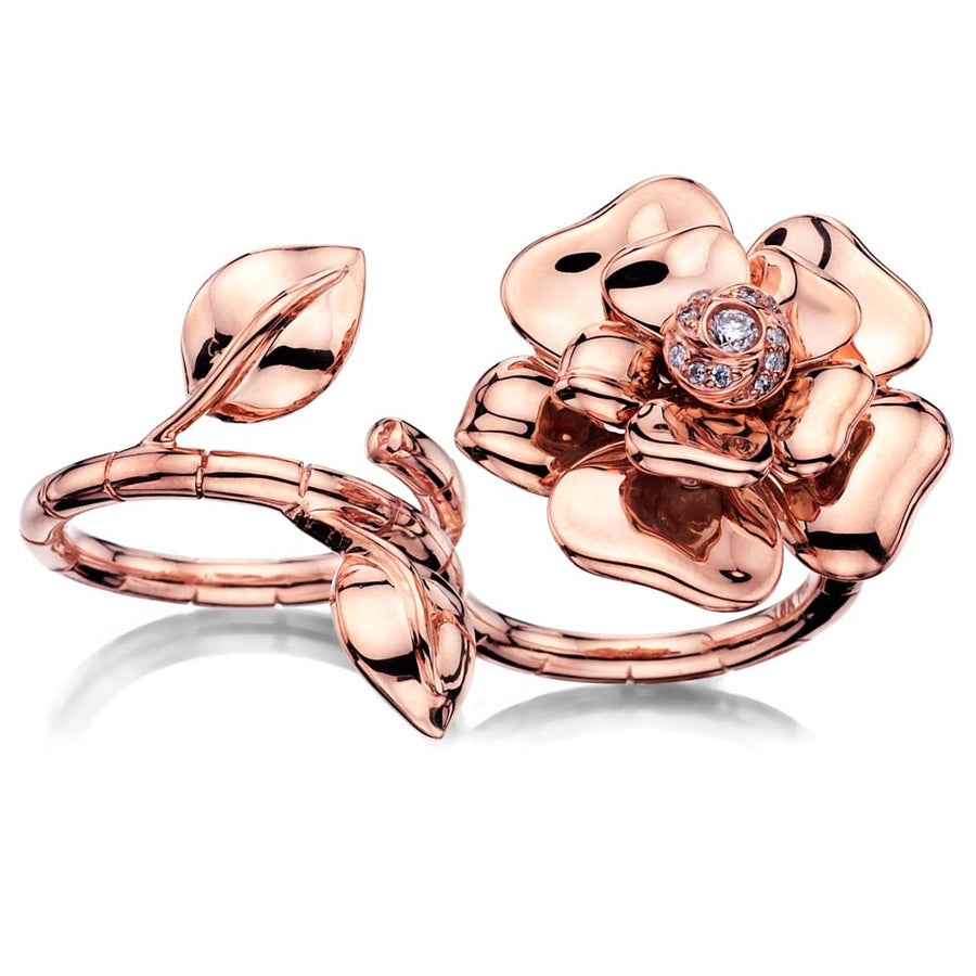 Rose Gold Open Flower Ring