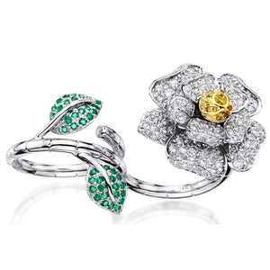 Open Flower Diamond Ring