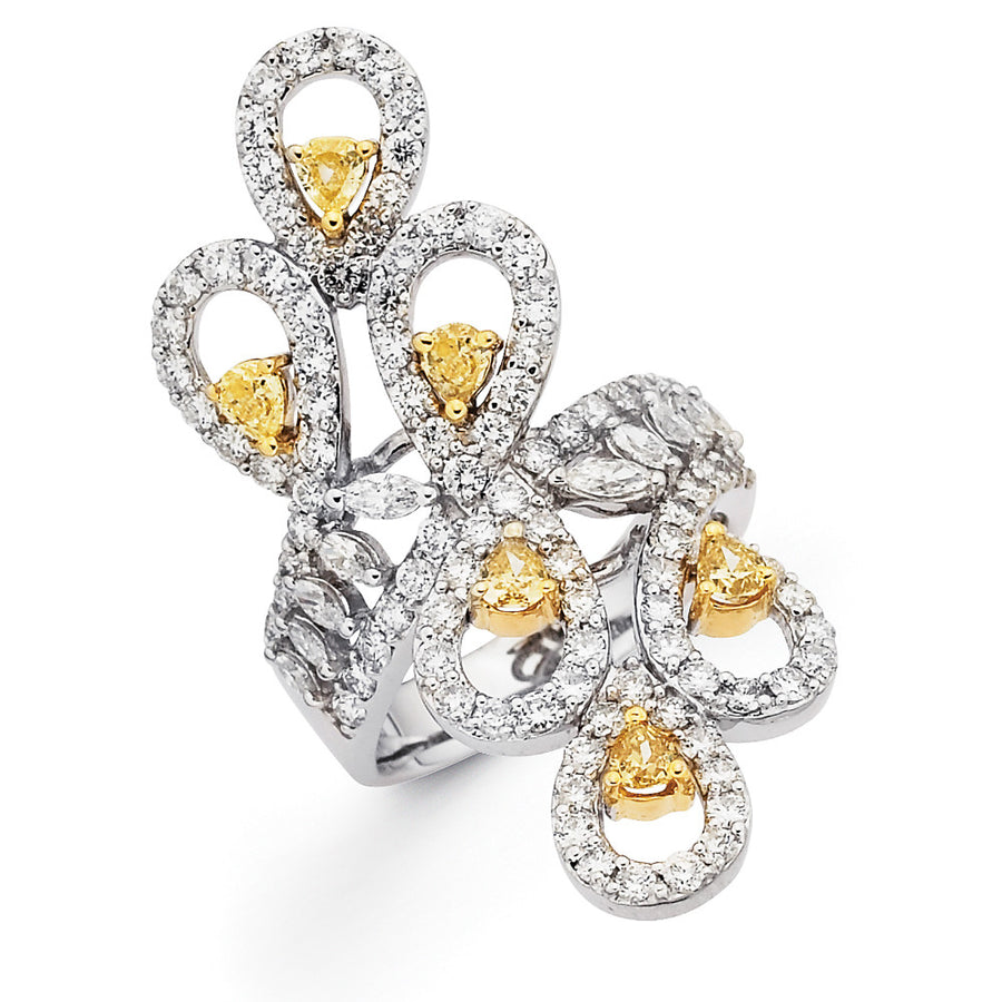 Le Marquis Ring - White Gold set with white and yellow diamonds