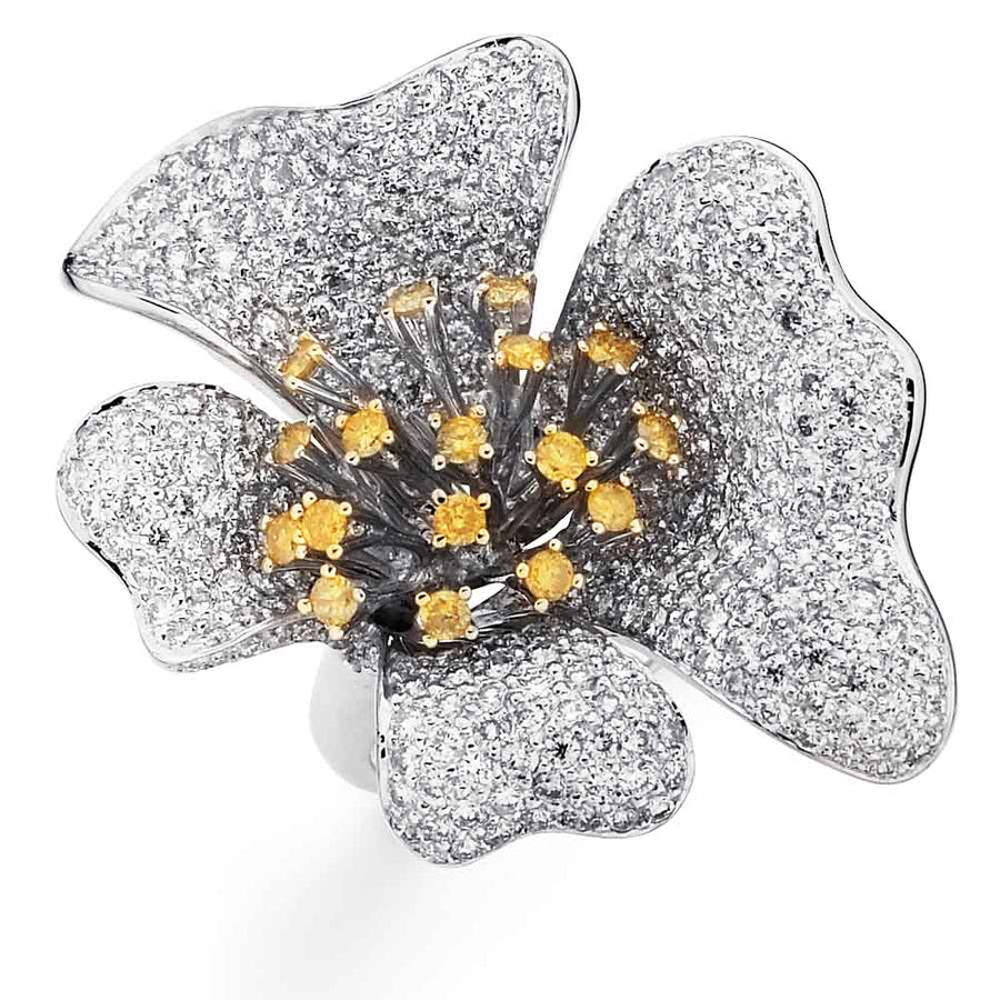 La Fleur Leaf Ring with Yellow Accents