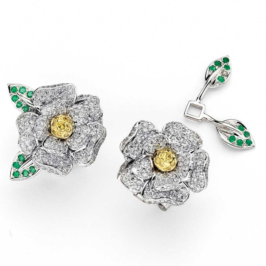 Open Flower Diamond Earrings