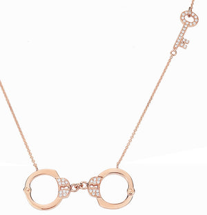 Bound Diamond Handcuff Necklace -  Rose Gold