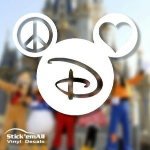 Peace Love & Mickey - Disney Inspired Window Sticker
