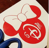 Monogrammed Minnie - Disney Inspired Vinyl Sticker
