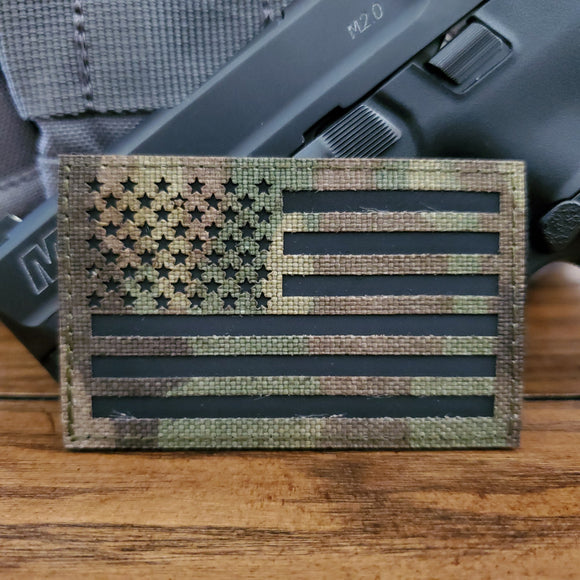 Embroidered Morale Patch (velcro back) - Woodland Camo U.S. Flag