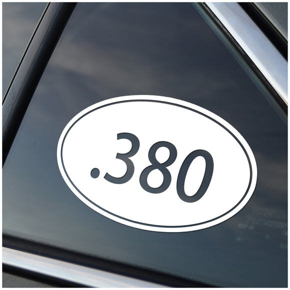 .380 Caliber Oval Vinyl Decal