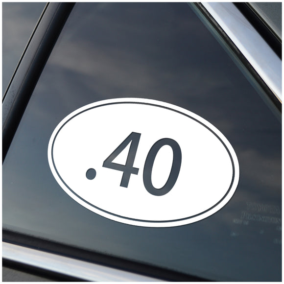 .40 Caliber Oval Vinyl Decal