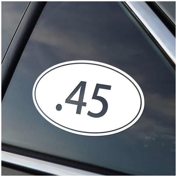 .45 Caliber Oval Vinyl Decal