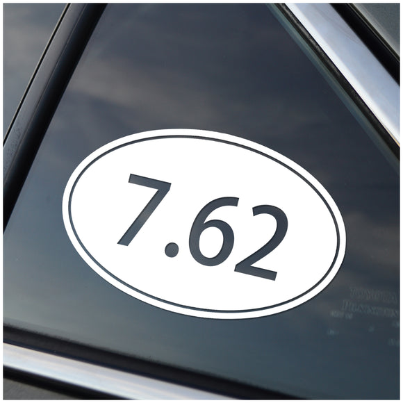 7.62 Caliber Oval Vinyl Decal