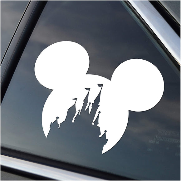 Mickey Head with Castle Window Decal Sticker Silver or White