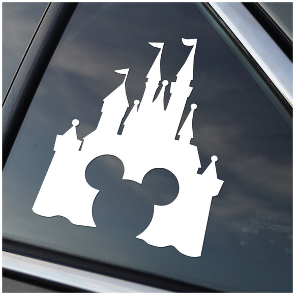 Disney Castle with Mickey Window Decal Sticker SIlver or White