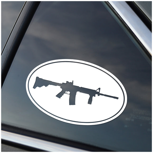 AR15 Tactical Black Rifle Oval Vinyl Decal