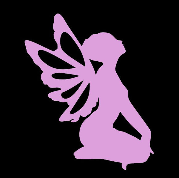 Kneeling Fairy Pink Window Decal