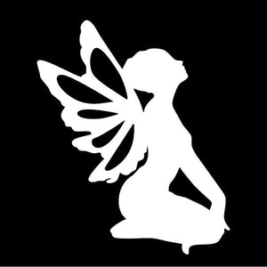 Kneeling Fairy White Window Decal