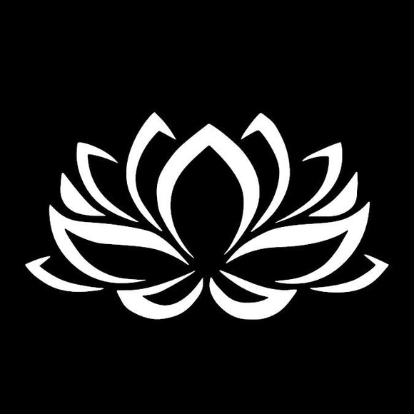 Lotus Flower White Window Decal