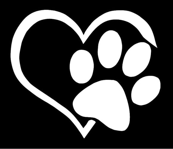 Paw and Heart Vinyl Window Decal