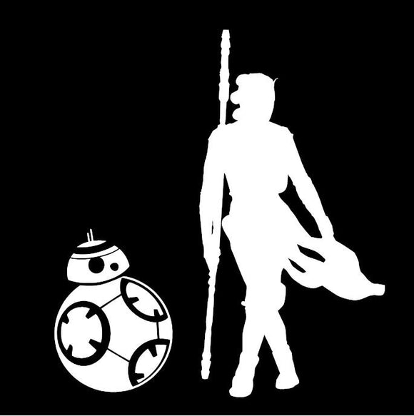 Rey & BB-8 Star Wars Inspired Window Sticker Decal