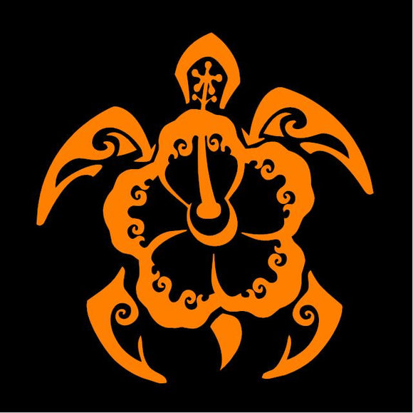 Orange Tribal Turtle/Hibiscus Window Sticker
