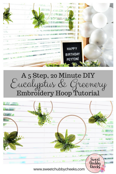 How to Make a Greenery Covered Embroidery Hoop in 20 Minutes with 5 Easy Steps