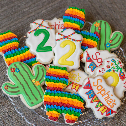 fiesta theme birthday cookies photographed by elizabeth collado photography