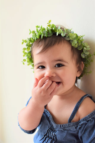 eucalyptus wreath by which goose for eucalyptus photo session of first birthday girl by sweet chubby cheeks