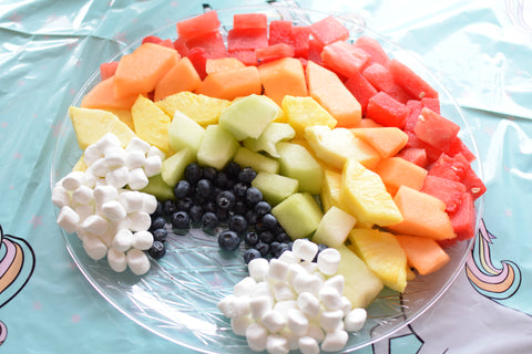 rainbow fruit tray tutorial by sweet chubby cheeks