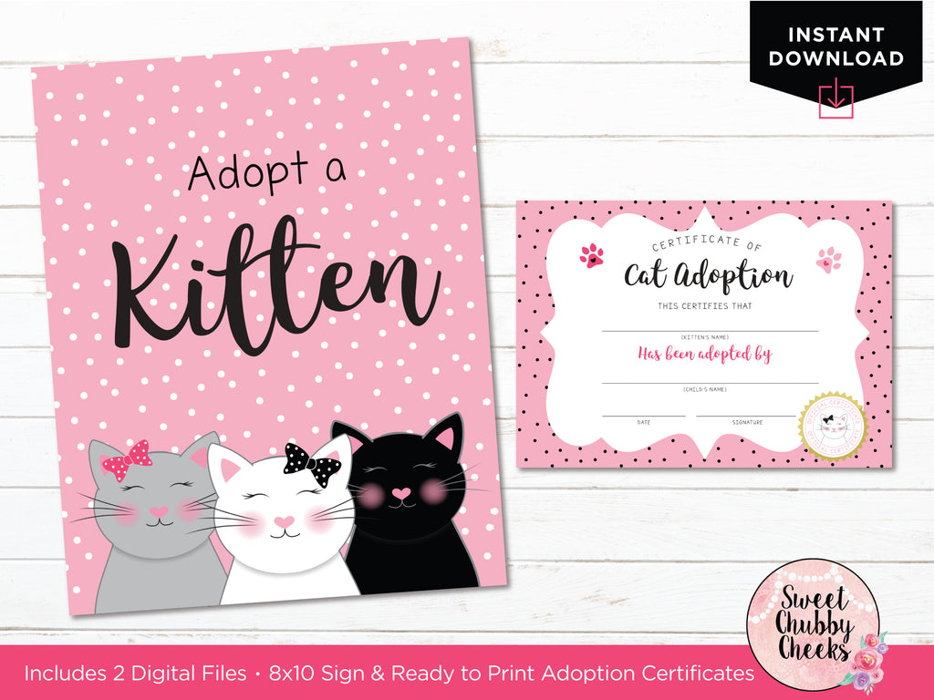 cat or kitten party adoption sign and certificate by sweet chubby cheeks