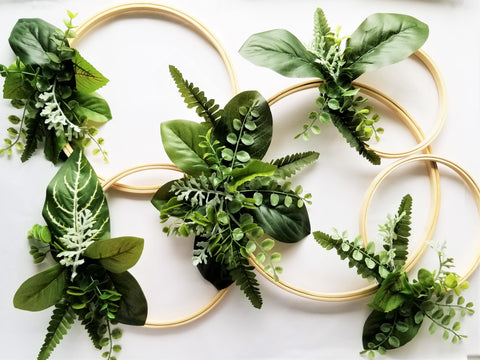 all 5 finished hoops from eucalyptus wreath tutorial by sweet chubby cheeks