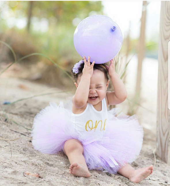 First Birthday Tutu and Tank Top Outfit in Lavender and Gold