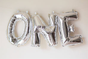 silver letter balloons sold by sweet chubby cheeks