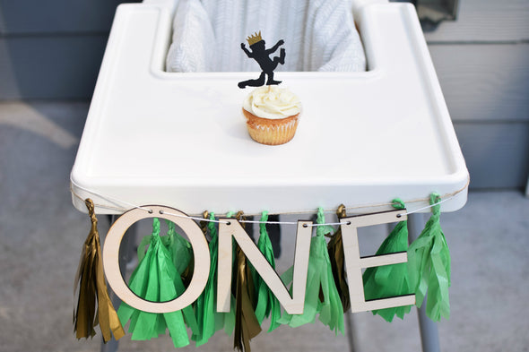 highchair banner for wild one first birthday party by sweet chubby cheeks