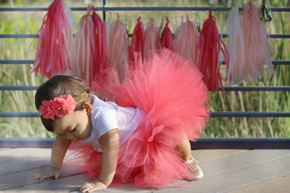 first birthday girl wearing coral tulle tutu