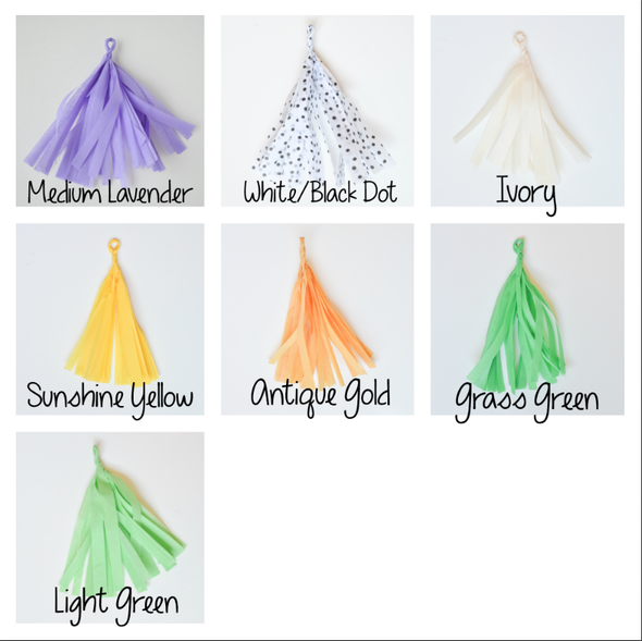 tassel garland color chart with new colors