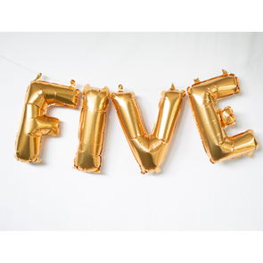 gold letter balloons spelling FIVE by sweet chubby cheeks