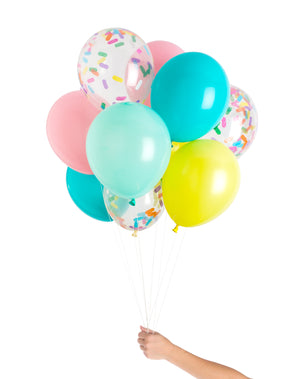 set of 12 balloons for ice cream and sprinkles party