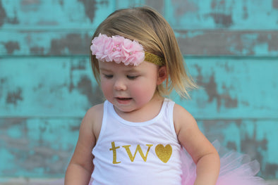 Pink and gold second birthday tank top