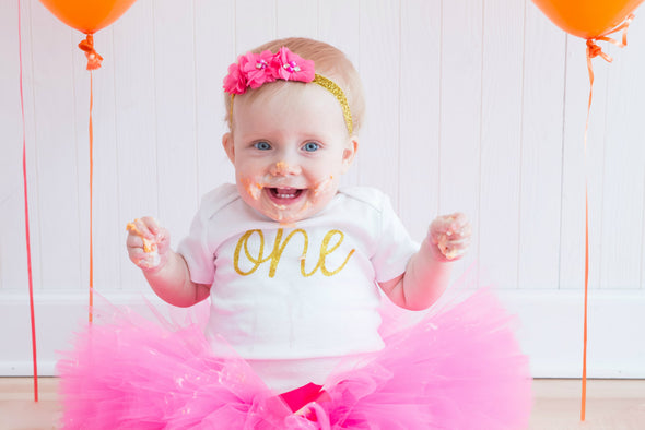 first birthday girl hot pink tutu outfit