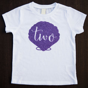 two year old birthday shirt with mermaid shell in purple