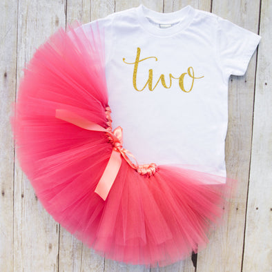 second birthday tutu outfit in coral and gold