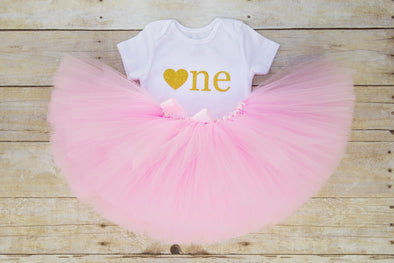 Pink and gold tulle tutu outfit