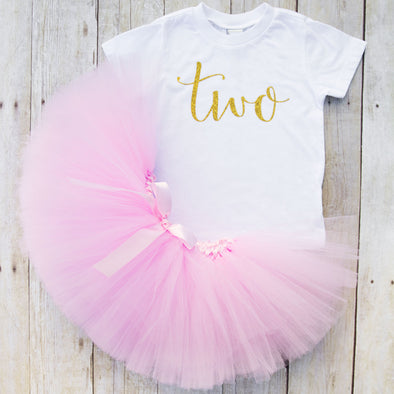 pink and gold second birthday tutu outfit